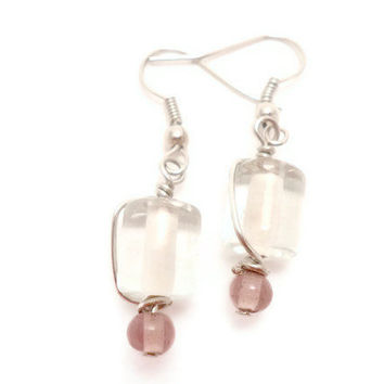 Clear Cylinder Earrings Which Have Been Wrapped by Septagram