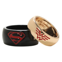 DC Comics Superman Wonder Woman His Hers Small Ring Set