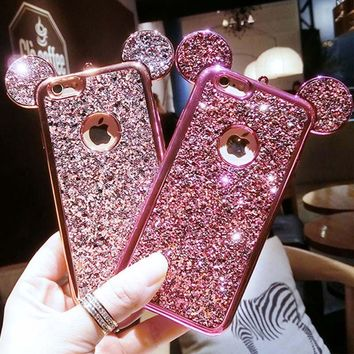 Glitter Sequins Mouse Ear Phone Case For Samsung Galaxy S8, S7, S6 edge, iPhone 7, 6, 6s Plus