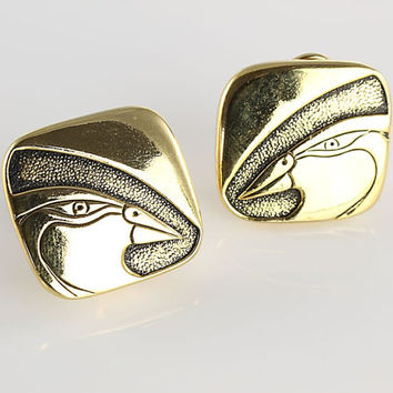 Laurel Burch Mynah Bird Earrings jewelry, black enamel gold 1980s vintage