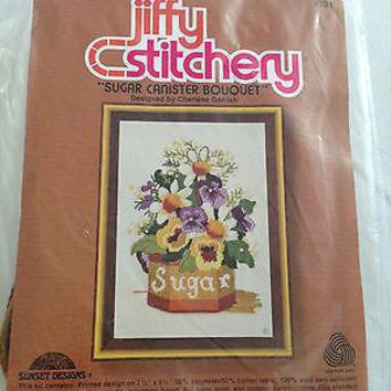 VINTAGE JIFFY STITCHERY by SUNSET DESIGNS #231 SUGAR CANISTER BOUQUET - 1980