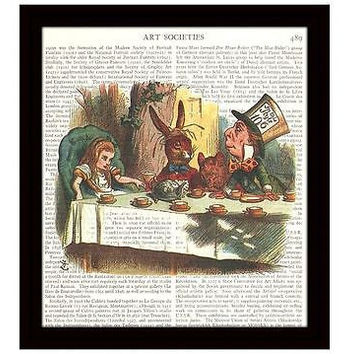 Alice in Wonderland Tea Party Dictionary Art Print 8 x 10 Victorian Decor