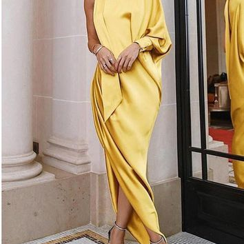 New Yellow Pleated Irregular Asymmetric Shoulder Side Slits Elegant Prom Evening Party Maxi Dress