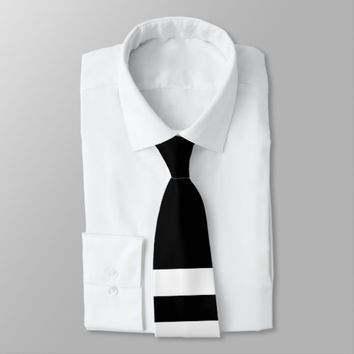 Black and White Dual-Striped Neck Tie