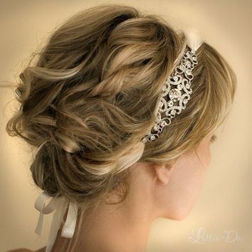 Bridal Ribbon Headband Wedding Rhinestone by LottieDaDesigns