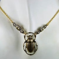 Insect Jewelry Egyptian Revival Scarab Brass Necklace. Art Deco Accents King Tut Treasure Inspired  Beetle Bug Classic Nile Valley of Kings