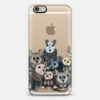 retro sweater mice transparent iPhone 6 case by Sharon Turner | Casetify