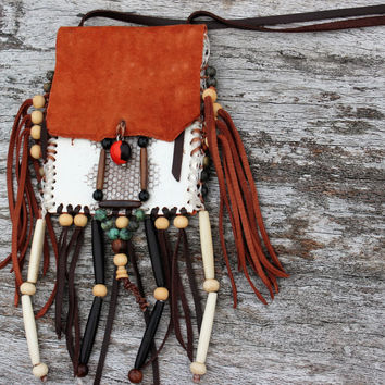 Burnt Orange  Sheepskin and Sea Snake Leather Medicine Bag Pouch Beaded Necklace Men Spiritual Shaman Healing Breast Plate