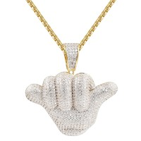 Hip Hop Iced Out Hang Loose Silver Pendant Chain