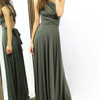 Army Green Wrap Waist Cold Shoulder Maxi Dress