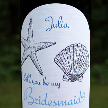 Will you be my bridesmaid? Wine label Invitation- Beach Wedding