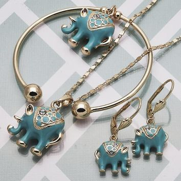 Gold Layered Women Elephant Necklace, Bracelet and Earring, with White Crystal, by Folks Jewelry