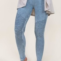 Rock & Roll Moto Knee Jeggings - Ice Blue