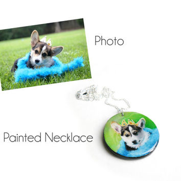 Dog Necklace Made to Order - Corgie Jewelry - Heart Shape Wooden Dog Pendant Hand Painted Jewelry - Custom Doggie Necklace
