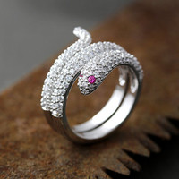 Snake Wrap Ring Pink Eye Crystal Animal Adjustable Jewelry Free Size Silver Plated Ring gift idea