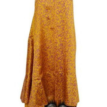 Boho Beach Wrap yellow Two Layer Reversible Silk Sari Long Skirt