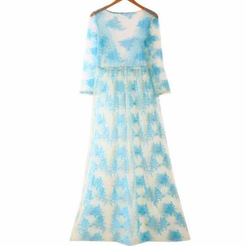 Floral Sheer Mesh Women Maxi Cover Up Dress