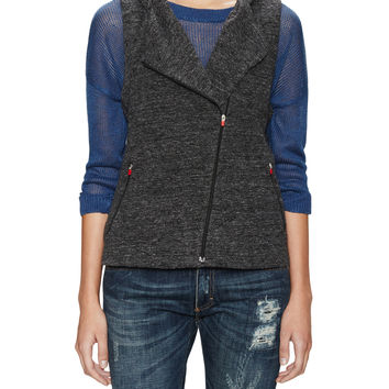 Eileen Fisher Women's Static Stretch Jacquard Hooded Vest - Dark Grey