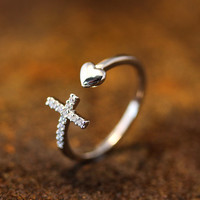 Open Heart Arrow Cross Ring Crystal Adjustable Ring Silver Gold Plated Jewelry