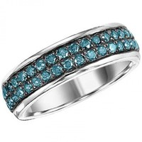 Sterling silver 1.00cttw pave round blue diamond band