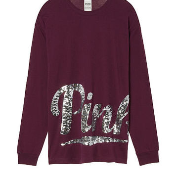 Campus Long Sleeve Bling Tee - PINK - Victoria's Secret