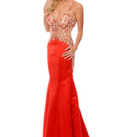 Precious Formals P81002 Sheer Illusion Prom Dress
