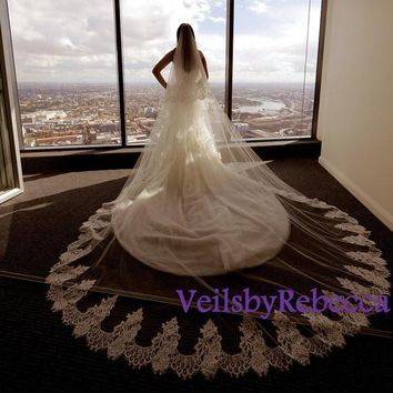 Cathedral lace veil, 2 tiers lace cathedral veil, ivory lace cathedral veil with blusher, cathedral lace drop wedding veil, lace veil V611