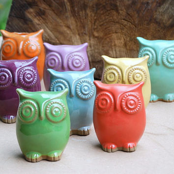 Ceramic Owl figurine choose your color by claylicious on Etsy