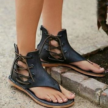 Zipper Fashion Women Leather Sandals Flats Shoes