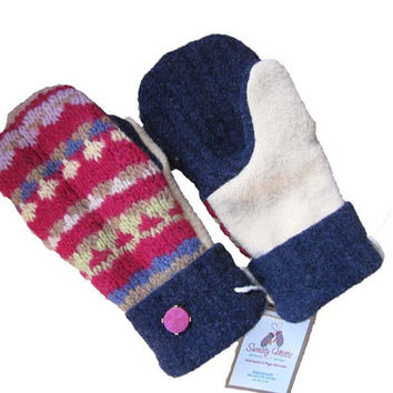Sweaty Mitts - Upcycled 100% Wool Sweater Mittens Women's WARM Recycled Handmade in Wisconsin - Pink Yellow Navy Fuchsia Stripes Fair Isle