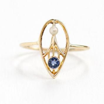Antique Art Deco 14k Yellow Gold Genuine Sapphire & Seed Pearl Ring- 1920s 1930 Tear D
