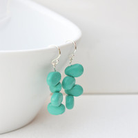 Turqouise drop earrings, minimal & playfull, polymer clay jewelry, sterling silver