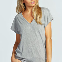 Paige V Neck Cage Back Jersey Tee