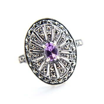 Vintage Sterling Silver Ring -  Size 10 1/4 Purple Glass Stone Costume Jewelry / Oval Marcasite