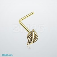 Golden Vintage Leaf Icon L-Shaped Nose Ring