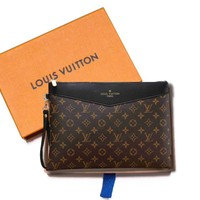 LV Fashionable Women Men Louis Vuitton Monogram Leather Office Bag Handbag Tote Zipper Wallet Purse