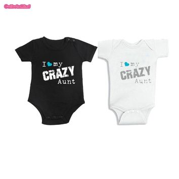 Culbutomind Aunt and Niece, Aunt and Nephew, I Love My Crazy Aunt Custom Name Baby Body Suit Baby First Birthday Shower Gift