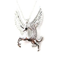 Unicorn Horse Animal Pendant Necklace in Silver with Large Wings | Animal Jewelry