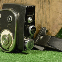 Vintage USSR Quartz M Clockwork M 8mm Cine Camera, With Original Leather Bag