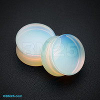 A Pair of Opalite Stone Double Flared Ear Gauge Plug