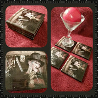 Freddy Kruger, Michael Myers & Jason ceramic drink coasters, wall art or decorative plate handcrafted halloween horror