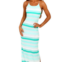 Mint and White Stripe Jersey Maxi Bohemian Dress