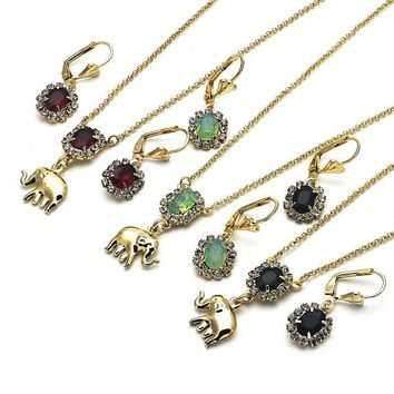 Gold Layered Earring and Pendant Adult Set, Elephant Design, with Crystal, Golden Tone
