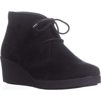 SC35 Jerard Lace Up Wedge Ankle Booties, Black, 8 US