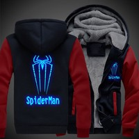 New Winter Jackets and Coats SpiderMan hoodie Anime Luminous spider-man Hooded Thick Zipper Men cardigan Sweatshirts