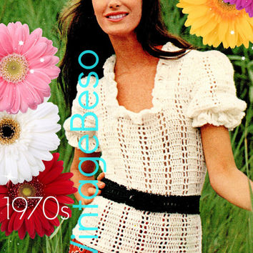 Top Crochet Pattern Vintage 70s Puff Sleeve Blouse Crochet Pattern Romantic Summer Feminine Top Bohemian Beauty Instant Download PdF Pattern