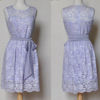 PROVENCE (Lavender) : Lavender purple lace dress, sweatheart neckline,  vintage, shirred skirt, chiffon sash, party, day, bridesmaid