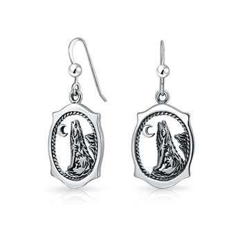 Wildlife rest Howling Were Wolf Earrings Sterling Silver French Wire