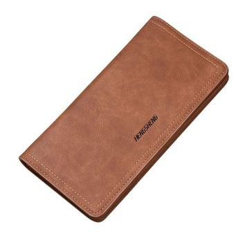 hengsheng wallet men luxury brand wallets 2017 Long Bifold Business Leather Wallet Money Card Holder Bag dompet kulit pria#7M