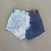"ALL SIZES ""Half and Half"" vintage high-waisted denim shorts distressed frayed bleached studded"